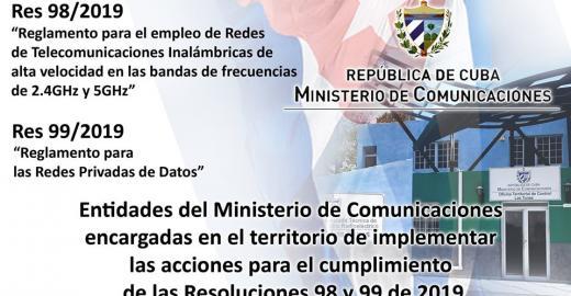 Unidades encargadas en los territorios de implementar las acciones para el cumplimiento de las Resoluciones 98 y 99 del Ministerio de Comunicaciones